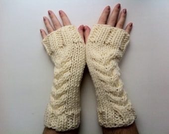 Knit mittens  Wool knitted mittens  Arm warmer  Fingerless gloves  Gift for her