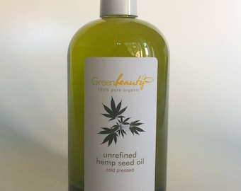 HEMP SEED OIL unrefined carrier cold pressed 100% pure organic natural 16oz