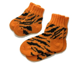 Wool kids socks childrens socks knit baby socks knit toddler socks orange tiger socks boys socks girls socks big sister little sister outfit