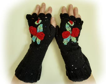 Hand knit fingerless gloves, Gloves with embroidered flowers,Cotton arm warmers, Decorated gloves,Women gloves, Black gloves