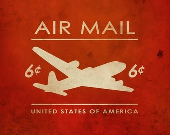 Vintage Air Mail Stamp Print, Airplane Wall Art