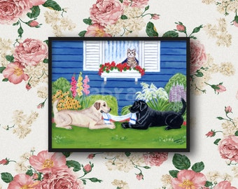 Labrador Painting, Labrador Print, Cute Dog Art, Yellow and Black Labs, Labrador artwork -- Playing in the garden Labradors 7 x 5, 8 x 10