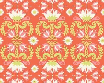 Organic Fabric - Modern Fabric - Groovy Lotus - Monaluna Fabric - Red - Raaga - Floral Organic Fabric - Cotton - quilt - apparel - damask