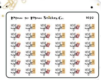 1092~~Movie Night Planner Stickers.