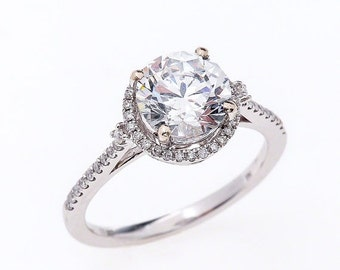 Moissanite Engagement Ring Forever Brilliant Halo 14K White Gold 8mm Brilliant Round Cut