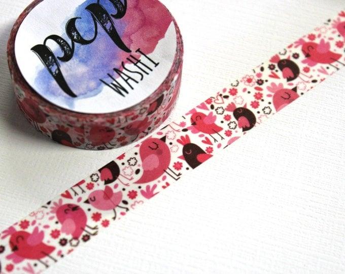 Washi Tape - Bird Washi Tape - Pink Birds Washi Tape - Paper Tape - Planner Washi Tape - Birdie Washi - Decorative Tape - Deco Paper Tape