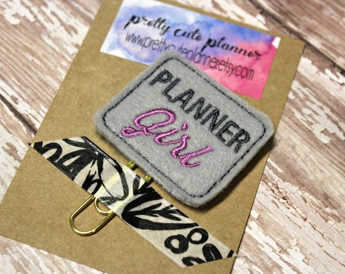 Planner Clip - Planner Bookmark - Planner Girl Planner clip - Grey Planner clip- Felt Planner Clip - Felt Bookmark - Feltie - Paper clip