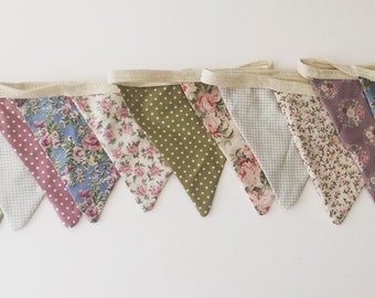 Vintage bunting, floral bunting, shabby chic bunting