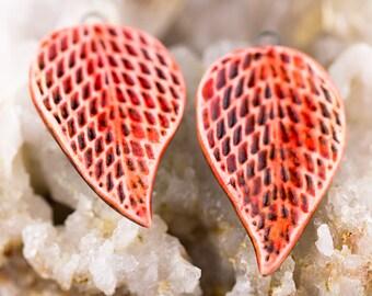 Lilac leaf porcelain pendants|Red glazes