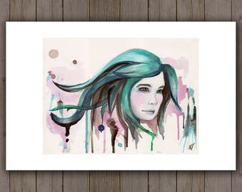 Watercolour Art Print - Blue Hair Woman Portrait / Turquoise Sea Queen / Splatter Drip Surreal Handpainted Watercolor Painting / Beauty Art