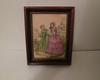 Vintage Embroidered  Victorian Women in Garden Framed Mixed Media Picture