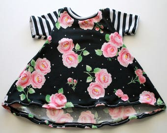 Baby Toddler Floral High Low Dress, Baby Toddler Floral Dress, Baby Toddler Rose Floral Dress
