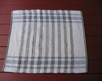 Handwoven white gray striped cotton rug