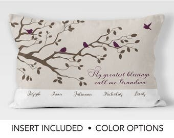 Mothers day Gift from Grandchildren - Grandmother Pillow Gift - Personalized Family Tree Pillow - grandchildren bird tree cushion