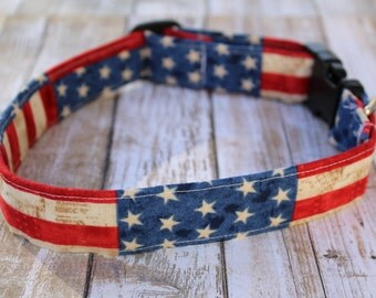 Rugged American Flag Dog Collar - American Flag Dog Collar - Flag Dog Collar - Patriotic Dog Collar - 4th of July Dog Collar