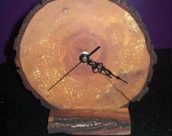 Spalted oak slice rustic clock
