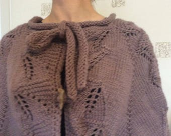 Elegant hand knitted women's poncho