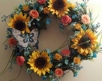 Hand Made Floral Summer and Spring wreath