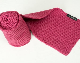 Handmade Hand Knitted Long Scarf in Acrylic Yarn - Lipstick Pink/Raspberry - Warm Soft and Cosy