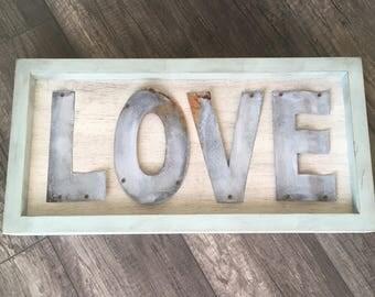 "Rustic Metal ""Love"" Sign, Home Decor, Dining Room Decor, Family Room Decor"