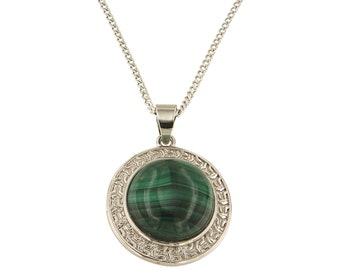 "Malachite Round Cabochon 16 mm Brass Silver Color Finish Fashion Jewelry 18"" Pendant Necklace OPBN-1009-MAL"