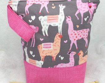 Large LLama/Alpaca Knitting Bag, Large Knitting Bag, Knitting Project Bag, Crochet Project Bag, Knitting Tote