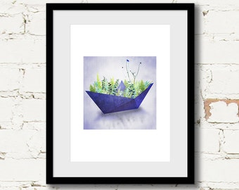 modern botanical art print, modern blue abstract art, scandinavian art, gallery wall print, blue green modern, plant illustration, geometric