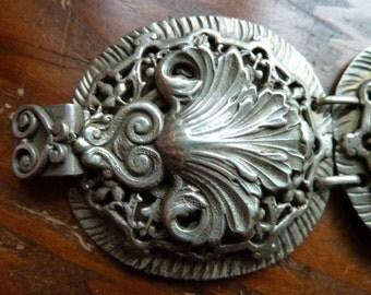 Vintage Sterling Silver filigree shell panel bracelet