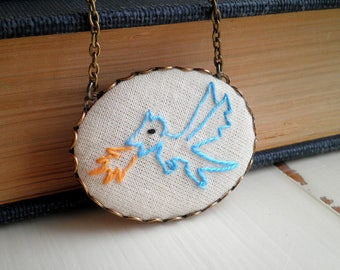 Baby Dragon Necklace. Turquoise Blue Embroidered Dragon Necklace- Mythical Creature Animal Embroidery Fiber Fantasy Art Textile Jewelry Gift