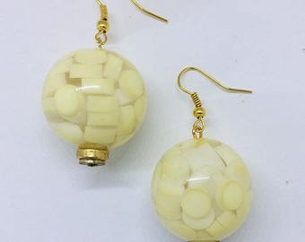 White Ball Earrings