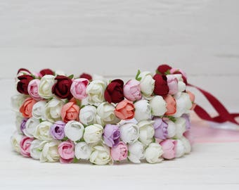 Pink white coral lilac burgundy floral crown Flower girl Baby headband Wedding floral crown  Flower crown Toddler flower crown