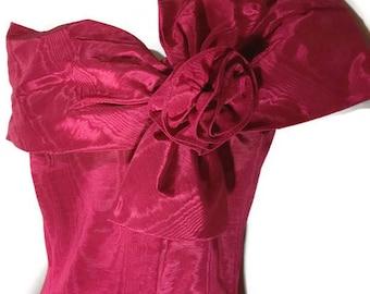 Vintage Jessica McClintock Formal Dress Size 5/6 Prom Moire Dress Vtg 90's Bridesmaid Dress Vintage Fuchsia Strapless Prom Dress Vtg Dress