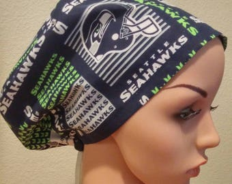 Women's Surgical Cap, Scrub Hat, Chemo Cap, Seahawks
