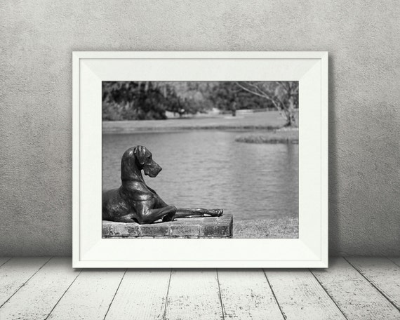 Dog Statue Photograph - Black White Photo - Fine Art Print - Wall Decor - Pictures of Dogs - Wall Art - Landscape Photo - Gifts