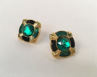 Art Deco emerald city gold and sparkle post earrings
