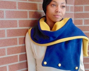 Handmade Blue and Yellow Scarf with buttons