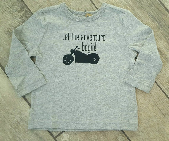 Let The Adventure Begin - motorcycle - toddler T-shirt - ONE OF A Kind - children / baby accessories - size 12-18 months