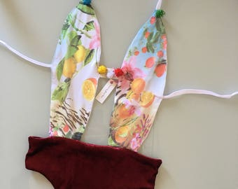 HANDMADE piece swimsuit trikini PONPON female sea estate