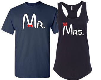 Ladies racerback with men's tee, Mr and Mrs couples shirts, Disney inspired couple shirts, Happily Ever After shirt, Mr and Mrs shirts