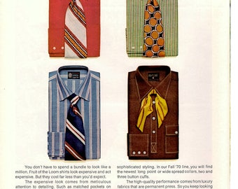 1970 Fruit of the Loom shirts vintage magazine ad outer wear 1705