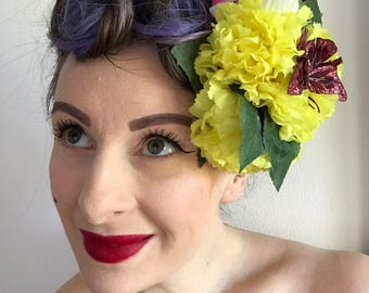 Rockabilly vintage 40's 50's Pin Up Large Yellow  Hair Flower with butterfly