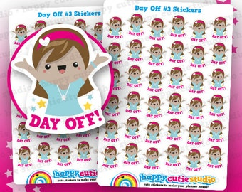 36 Cute Day Off #3 Planner Stickers, Filofax, Erin Condren, Happy Planner, Kawaii, Cute Sticker, UK
