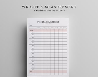 Weight & Measurement Tracker Printable - Instant Download 12 Week Weight Tracker, Fitness Challenge, Fitness Tracker, Planner, Goal Tracke