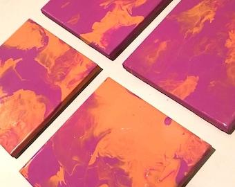 Ceramic Tile Coaster Set - Acrylic Paint Marble Effect - 10cm