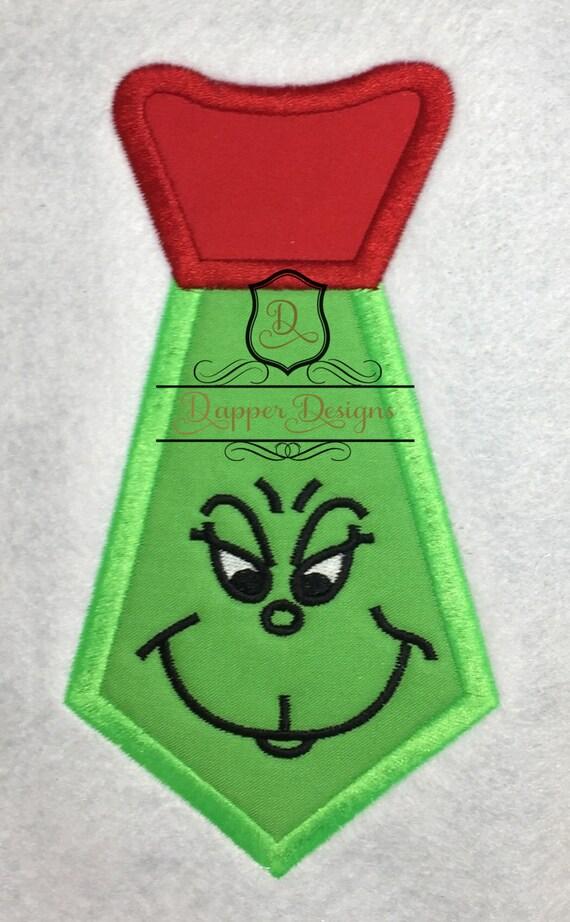 Mr mean green tie machine embroidery applique design use