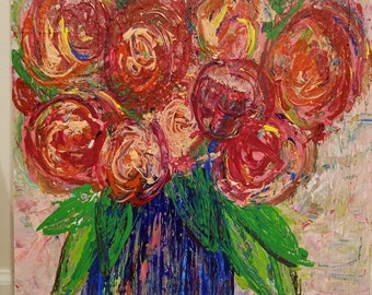 60 Pink & Red Roses in Blue Vase (21 x 18.5x1)