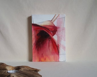 Abstract Botanical Art. 'Flute' Bright Red and Black, Ready to Hang Wall Art. Modern Oil Painting on Canvas. UK Artist