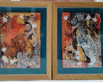 Hummingbirds - pair of bronze and silver hummingbirds in mixed-media on canvas