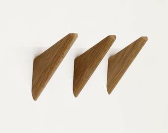 Set of 3 Modern White Oak Wall-Mount Coat Hooks