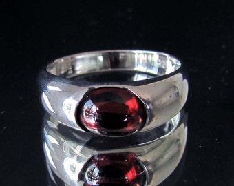 Silver gemstone Ring with natural dark red Garnet cabochon